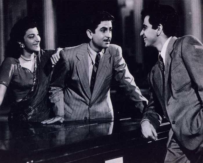 Nargis, Raj Kapoor and Dilip Kumar in scene from Andaz