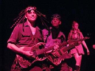 Abney Park (band) - From the left: Nathaniel Johnstone, Daniel Cederman, Kristina Erickson