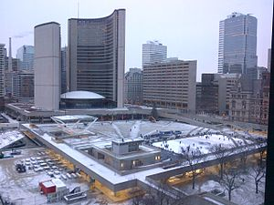Nathan Phillips Square - View of Nathan Phillips Square from the Sheraton Centre Toronto Hotel