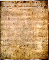 The original document of the United States Declaration of Independence