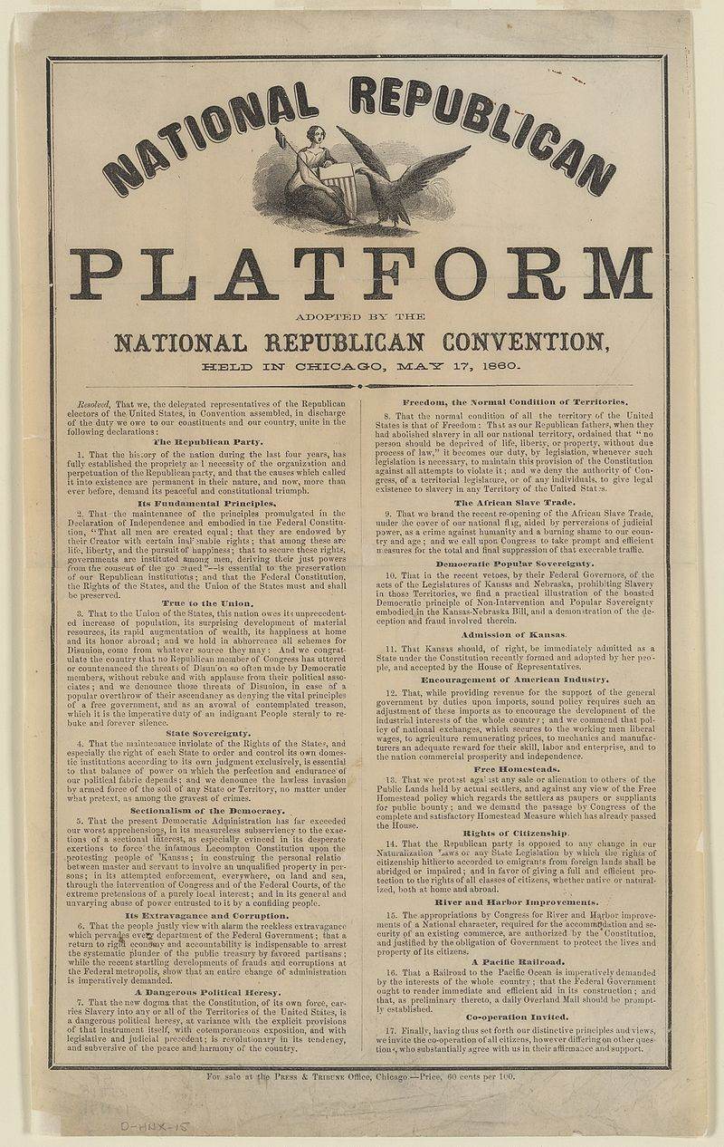 National republican platform. Adopted by the National Republican Convention, held in Chicago, May 17, 1860.jpg