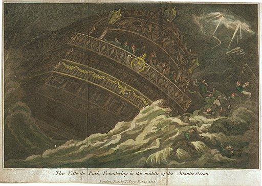 Naufrage du vaisseaux le Ville de Paris en 1782 apres bataille des Saintes