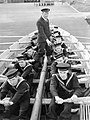 Naval recruits learn to row a boat at HMS RALEIGH, the naval training base at Torpoint in Cornwall, 1941. A3141.jpg