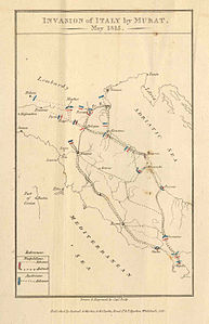 Mappa della campagna di Murat, da An Historical Sketch of the Campaign of 1815
