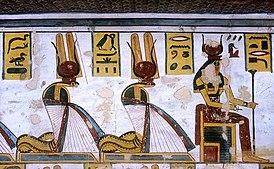 Nepret, Renenutet and Hu as cobras (KV11).jpg