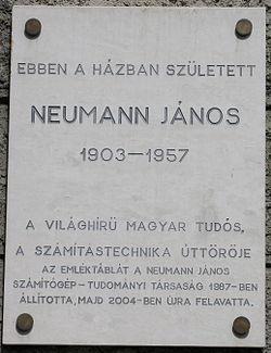 Photo of Neumann János stone plaque