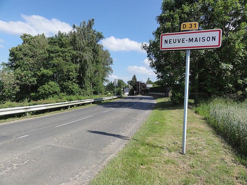 Neuve-Maison (Aisne) city limit sign