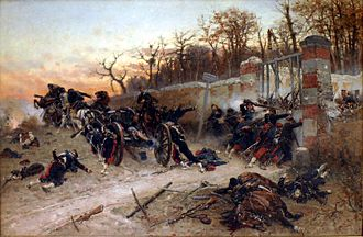 Battle of Buzenval (1870) - Defence of Longboyau's gate, château of Buzenval, 21 October 1870; painted by Alphonse de Neuville