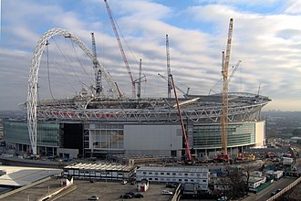 Wembley Stadium - Construction of the new Wembley, looking east, taken January 2006
