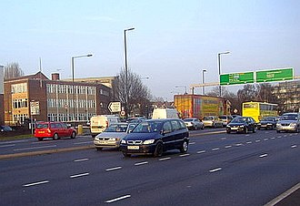 A1 in London - Henlys Corner, where the A1 meets the A406. This junction was modified in 2011 to provide extra filter lanes.