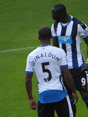 Papiss Cissé - Cissé, alongside Georginio Wijnaldum, encouraging his teammates on after going behind against Watford, 2015