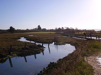 Newtown, Isle of Wight - View over the marshes, with Newtown church on the skyline
