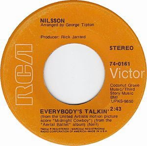 Everybody's Talkin' - Image: Nilsson everybodys talkin rca victor US vinyl 1969 rerelease