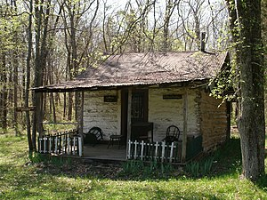 Old Mines, Missouri - A log cabin preserved by the Old Mines Area Historical Society