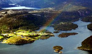 Norddalsfjord - View of the village along the fjord