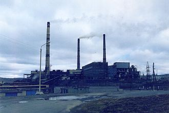 Nornickel - The Norilsk Nickel plant in Nikel