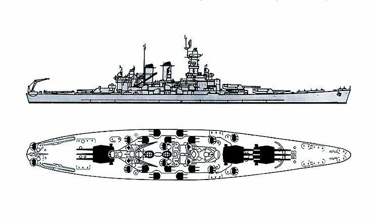 North Carolina class battleship recognition drawings