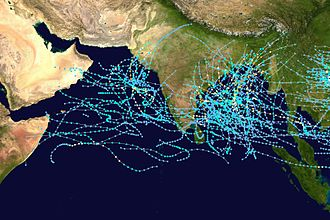 Tropical cyclone basins - Tracks of all tropical cyclones in the northern Indian Ocean between 1980 and 2005