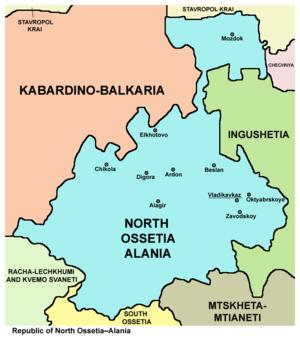 History of North Ossetia-Alania - Map of modern North Ossetia–Alania