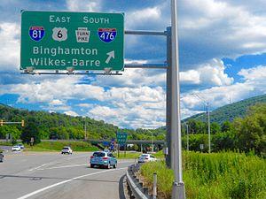 South Abington Township, Lackawanna County, Pennsylvania - Entrance to I-476 and I-81