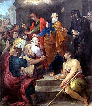 Avanzino Nucci - Avanzino Nucci, Peter's confrontation with Simon Magus, Oil on canvas, 1620