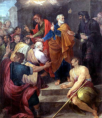Simon Magus - Peter's conflict with Simon Magus by Avanzino Nucci, 1620. Simon is on the right, dressed in black.
