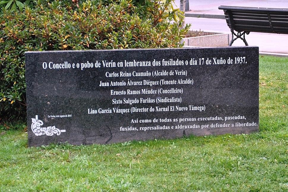 O pobo de Verín en lembranza dos fusilados o día 17 de xuño de 1937