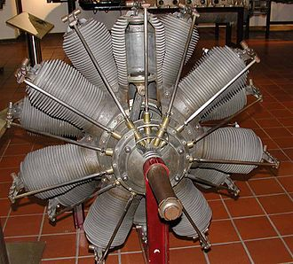 Rotary engine - A German Oberursel U.III engine on museum display