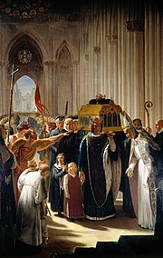 Tableau de style néo-classique représentant Philippe III marchant devant le cercueil de Louis IX dans la basilique Saint-Denis.