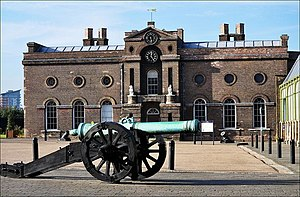Royal Military Academy, Woolwich - The Old Royal Military Academy, in use 1741–1806. The cadets were taught in the left-hand half of the building, the right providing a Board Room for the Ordnance Board.