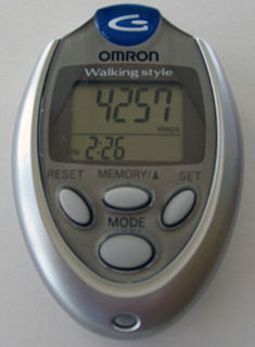 Pedometer device, usually portable and electronic or electromechanical, that counts each step a person takes by detecting the motion of the persons hands or hips