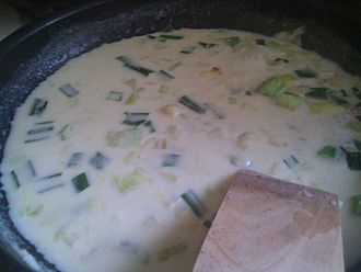 Onion sauce - Onion sauce being prepared for new potatoes