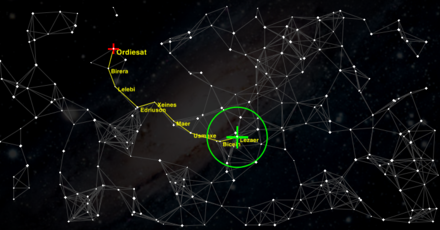 Galactic trade map of the space trading and combat simulator, Oolite. Oolite galactic map.png