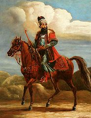 Persian dignitary on horseback (Oriental horseman).
