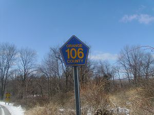 County Route 106 (Orange County, New York) - Orange 106 shield near county line