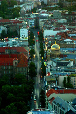 Oranienburger Straße - The Oranienburger Straße, viewed from the Fernsehturm.