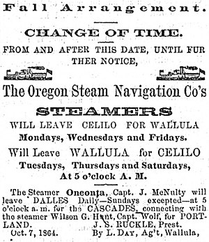 Oneonta (sidewheeler) - 1865 newspaper advertisement for Oneonta running on the middle Columbia