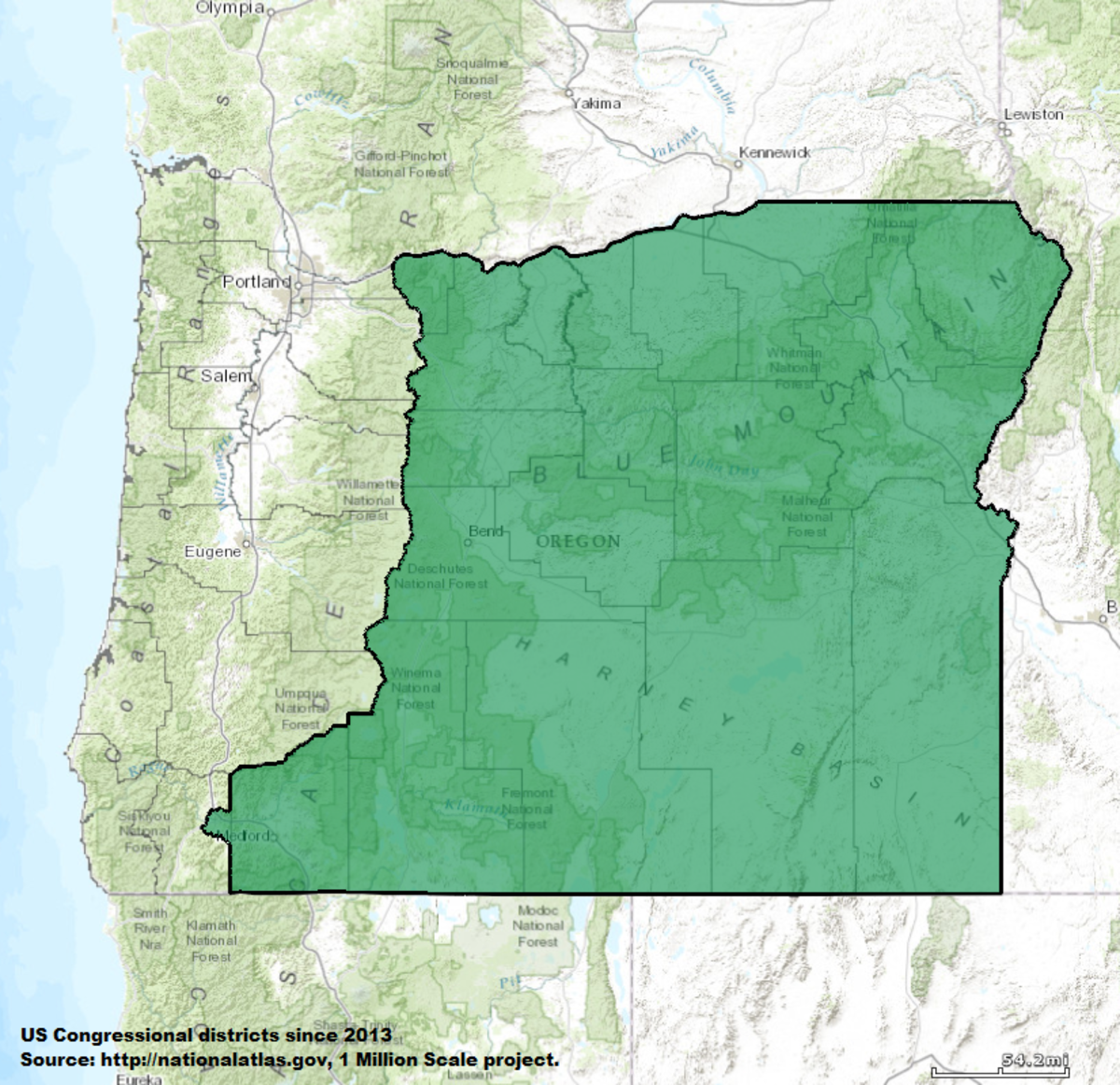 Oregons Nd Congressional District Wikipedia - Oregon map us