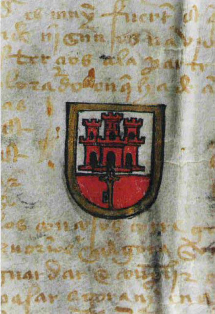 The arms granted to the city of Gibraltar by a Royal Warrant passed in Toledo on 10 July 1502 by Isabella I of Castile Original coat of arms of Gibraltar.jpg