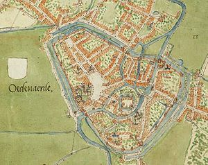 Siege of Oudenaarde - Map of the city from the mid-sixteenth century, before the building of its trace italienne fortifications
