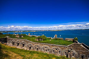 Cork Harbour - The fortifications of Camden Fort Meagher overlook the entrance to Cork Harbour.