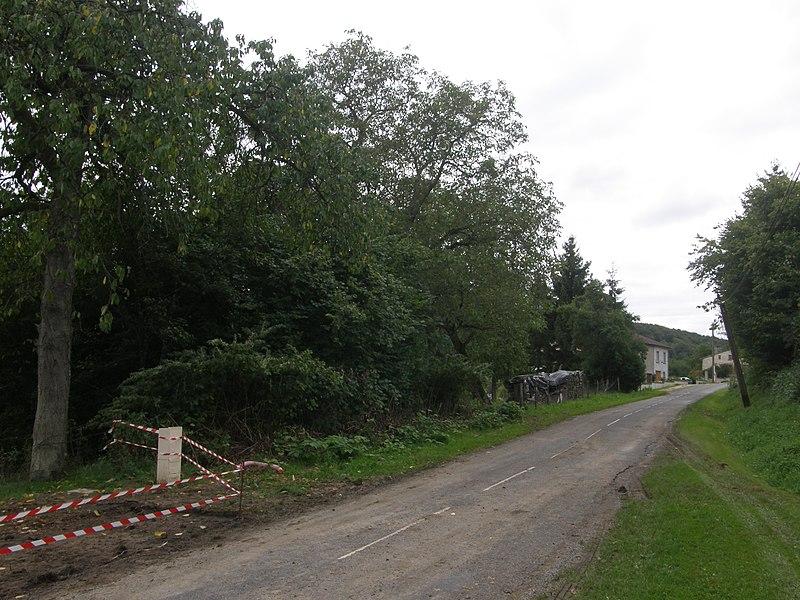 Entrée du village de Réville-aux-Bois (Meuse). Travaux de terrassement en vue de la construction d'une maison individuelle. Boîtier de raccordement au réseau public de distribution d'électricité.