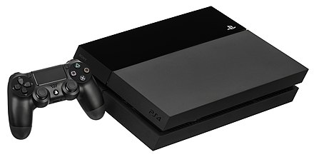 The PlayStation 4 with the DualShock 4 controller. PS4-Console-wDS4.jpg