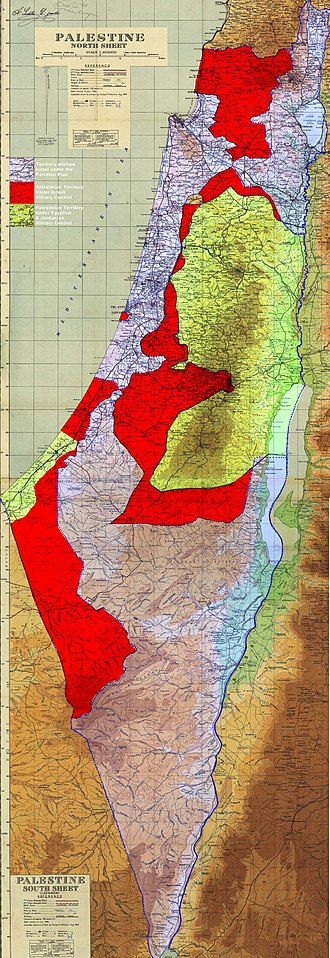 Jordanian annexation of the West Bank - Image: Palestinian territories under military control of Israel Egypt and Jordan 1949