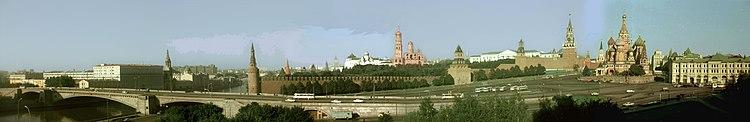 Panorama over het Kremlin van Moskou vanaf het toenmalige Hotel Rossija in 1981