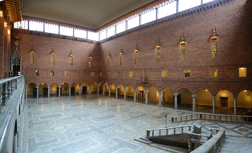 Panorama of Blå hallen (Blue Hall), the place of the Nobel Price banquet - Stockholms stadshus (24763390341)