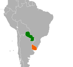 Map indicating locations of Paraguay and Uruguay