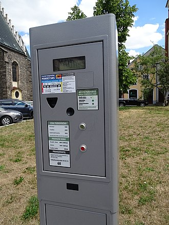 Vending machine - An automobile parking ticket machine in the Czech Republic