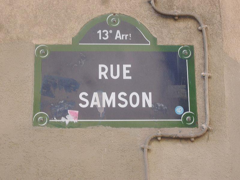 Fichier:Paris 13e - Rue Samson - plaque 2.jpg