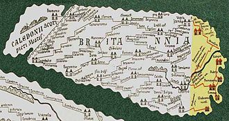 Limes Britannicus - Britannia in the Tabula Peutingeriana, only the yellow highlighted section survived, the rest was added in 1887 by Konrad Miller